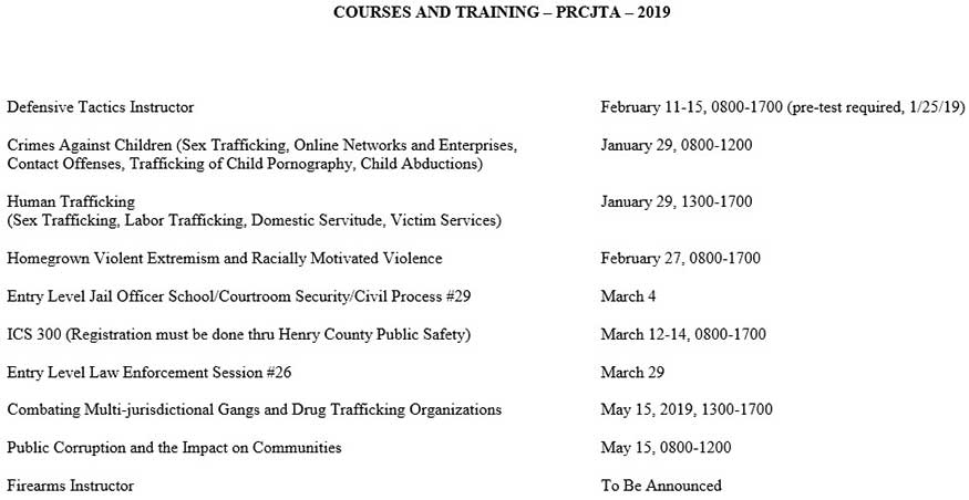 Courses & Training 2019